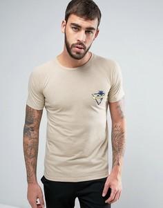 Меланжевая футболка с нагрудным карманом Hoxton Denim - Розовый