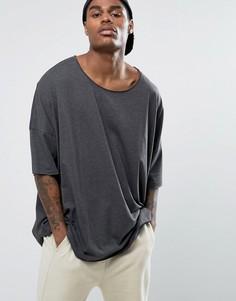 Oversize-футболка с овальным вырезом ASOS - Серый