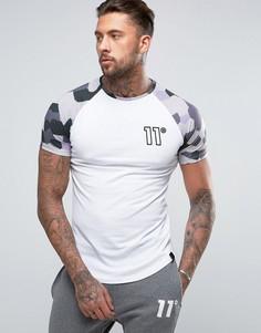 белая футболка с камуфляжным принтом на рукавах реглан 11 Degrees - Белый
