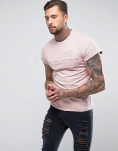 Удлиненная футболка с карманом и вставками Religion - Розовый
