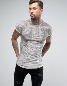 Длинная футболка с отворотами на рукавах и принтом Religion - Серый