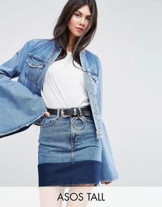 Джинсовая куртка с рваной отделкой и рукавами клеш ASOS TALL - Синий