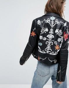 Байкерская куртка из искусственной кожи с принтом цветов Blank NYC - Черный