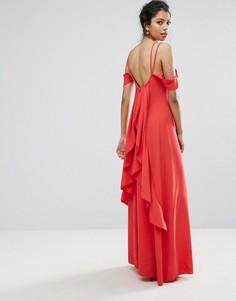 Платье макси с оборками на спине Boohoo - Красный