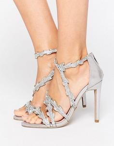 Серебристые босоножки на каблуке с отделкой Carvela Goa - Серебряный