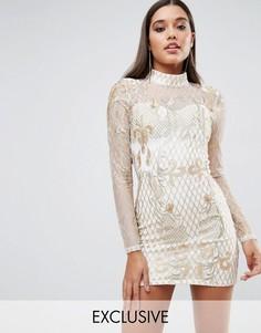 Платье мини с высоким воротом и отделкой Club L - Золотой