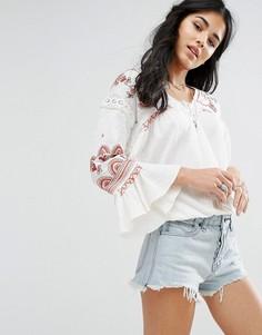Блузка с длинными рукавами и вышивкой Free People Chiquita - Белый