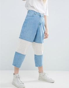 Голубые джинсы со вставкой ASOS WHITE - Кремовый