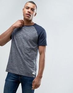 Полихроматическая футболка с контрастными рукавами реглан Esprit - Темно-синий