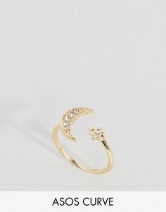 Незамкнутое кольцо с луной и звездой ASOS CURVE - Золотой