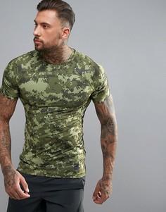 Зеленая компрессионная футболка с камуфляжным принтом Nike Training 828180-387 - Зеленый