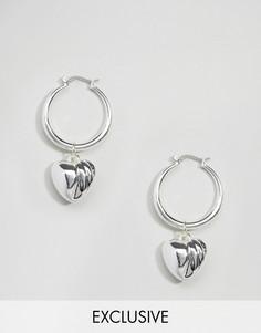 Серьги-кольца с сердечками Monki - Серебряный