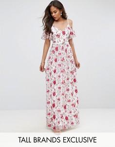 Платье макси с открытыми плечами и вышивкой Little Mistress Tall - Мульти