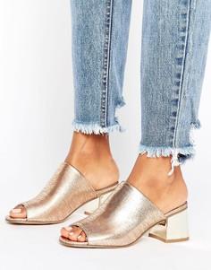 Сабо на низком каблуке цвета металлик New Look - Золотой