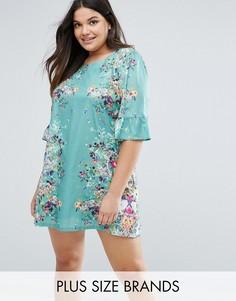 Свободное платье с принтом и оборками на рукавах Yumi Plus - Зеленый