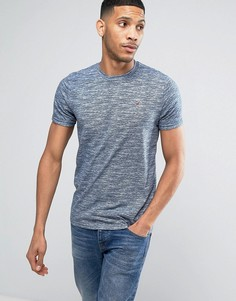 Синяя меланжевая футболка узкого кроя с логотипом Hollister - Синий
