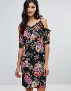 Платье с цветочным принтом и вырезами на плечах Daisy Street - Черный