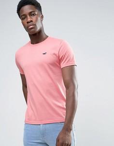 Узкая розовая футболка с вышитым логотипом-чайкой Hollister - Розовый
