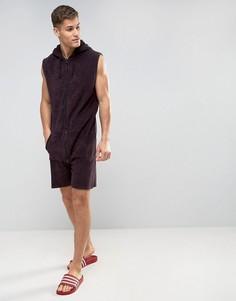Махровый комбинезон-шорты заниженного кроя без рукавов ASOS - Красный