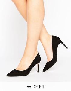 Замшевые туфли-лодочки для широкой стопы Dune - Черный