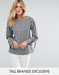 Хлопковая блузка в клеточку с начесом и завязками на манжетах Missguided Tall - Мульти