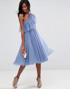 Платье миди на одно плечо из тюля ASOS - Синий