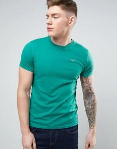 Узкая зеленая футболка с логотипом Hollister - Зеленый
