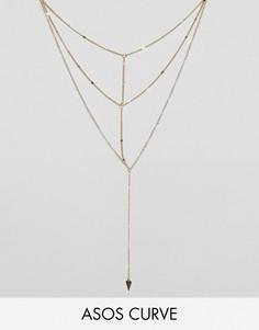 Ярусное ожерелье из цепочек ASOS CURVE - Золотой