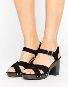 Босоножки на каблуке с заклепками New look - Черный