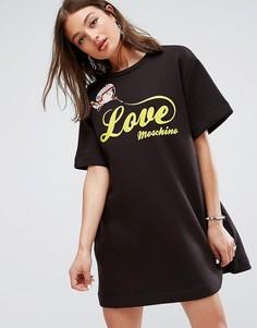 Платье-футболка с принтом Love Moschino - Черный
