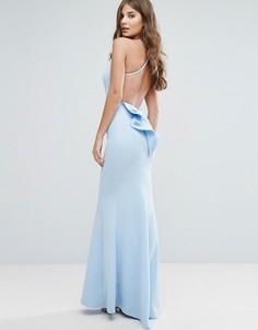 Платье макси с бантом и открытой спиной City Goddess - Синий