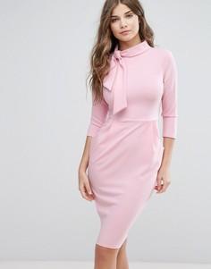 Платье-футляр с завязкой и рукавами 3/4 City Goddess - Розовый