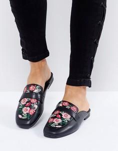 Сабо с цветочной вышивкой New Look - Черный