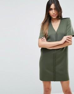 Цельнокройное платье мини с изнаночными швами ASOS - Зеленый