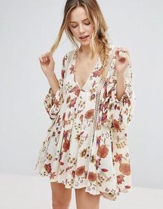 Платье с длинными рукавами и принтом Free People Just The Two Of Us - Белый