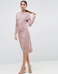 Облегающее платье миди на одно плечо с драпировкой ASOS - Розовый