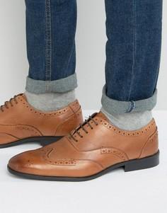 Светло-коричневые кожаные оксфордские броги Silver Street - Рыжий