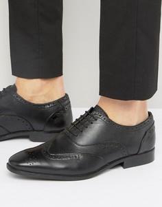 Черные кожаные оксфордские броги Silver Street - Черный