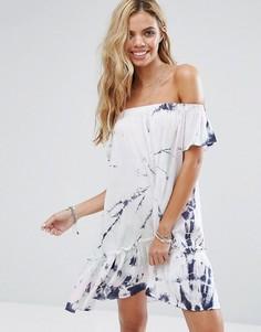 Пляжное платье со спущенными плечами и принтом тай-дай Surf Gypsy - Мульти