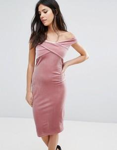 Бархатное платье-бандо миди с перекрестным передом Love - Розовый