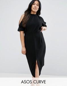 Платье с открытыми плечами ASOS CURVE - Черный