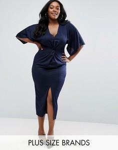 Платье миди с узлом спереди Club L Plus - Темно-синий