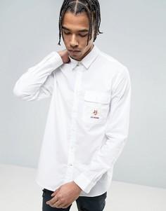 Рубашка с вышитым карманом на груди Love Moschino - Белый