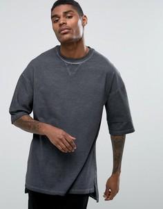Черная oversize-футболка с выбеленным эффектом и укороченными рукавами ASOS - Серый