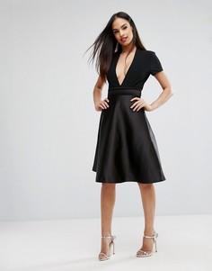 Атласная юбка на выпускной с бантом сзади Vesper Bonded - Черный