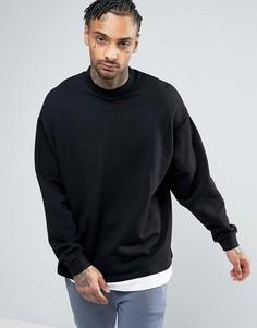 Черный oversize-свитшот с эффектом футболки ASOS - Черный