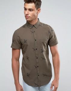 Рубашка хаки классического кроя с принтом птиц New Look - Зеленый