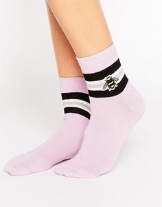 Носки с вышитой пчелой ASOS - Фиолетовый