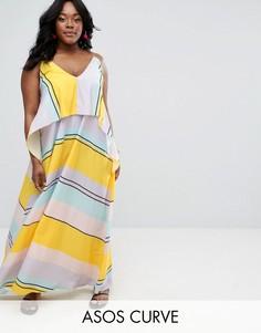 Платье макси в полоску ASOS CURVE - Мульти