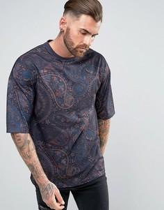 Oversize-футболка со сплошным принтом пейсли ASOS - Темно-синий